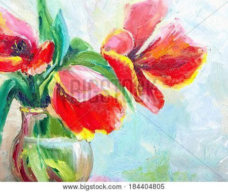 Oil Painting, Impressionism Style, Texture Painting, Flower Still Life Painting Art Painted Color Im