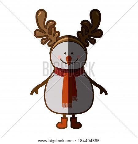 silhouette of snowman with red boots and scarf and horns of reindeer with half shadow vector illustration