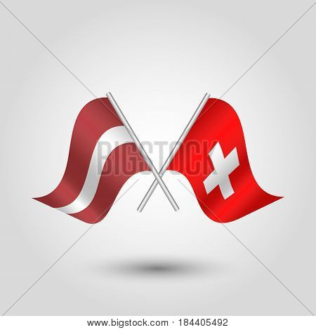 vector waving simple triangle two crossed latvian and swiss flags on slanted silver pole - icon of latvia and switzerland
