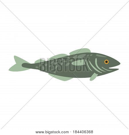 Grey Mackerel Fish, Part Of Mediterranean Sea Marine Animals And Reef Life Illustrations Series. Aquarium Element Isolated Stylized Icon, Underwater Inhabitant Artistic Sticker.
