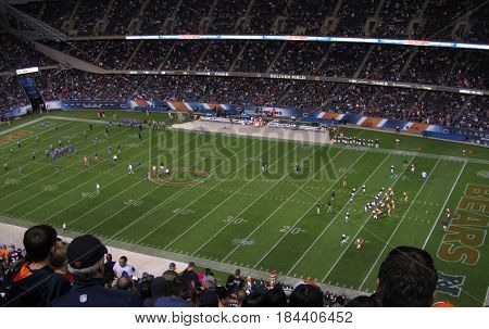 youth football game during halftime of Chicago Bears vs Jacksonville Jaguas football game, August, 14, 2014