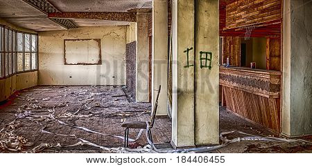 Abandoned public housing, old pub interior .