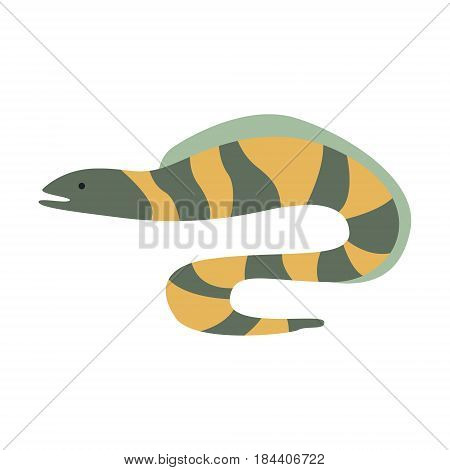 Grey And Yellow Stripy Moray Eel, Part Of Mediterranean Sea Marine Animals And Reef Life Illustrations Series. Aquarium Element Isolated Stylized Icon, Underwater Inhabitant Artistic Sticker.