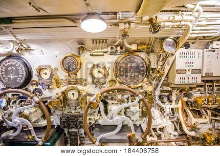 HONOLULU, OAHU, HAWAII, USA - AUGUST 21, 2016: detail of all levers and speedometers in the machine room of USS Bowfin Submarine SS-287 at Pearl Harbor. Popular tourist attraction in Oahu, Hawaii.