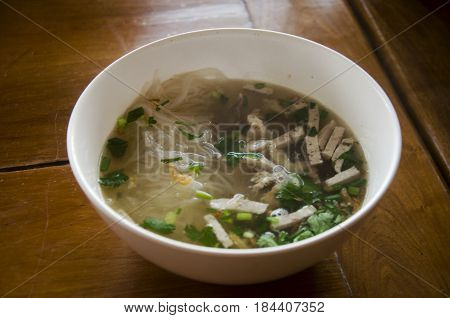 Vietnamese Noodle Soup With Meat Called Pho Served With Vegetable