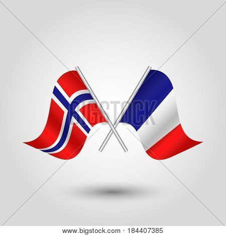 vector waving simple triangle two crossed norwegian and french flags on slanted silver pole - icon of norway and france