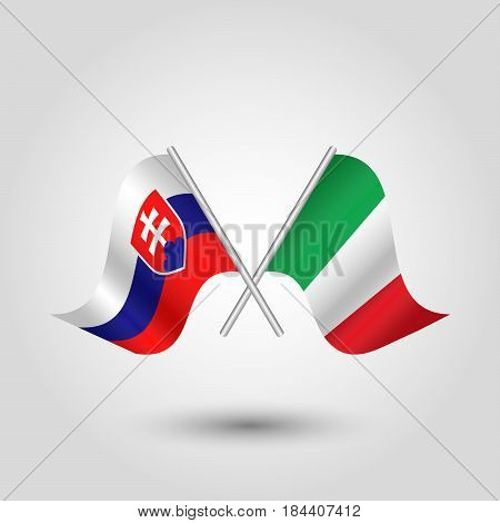 vector waving simple triangle two crossed slovak and italian flags on slanted silver pole - icon of slovakia and italy