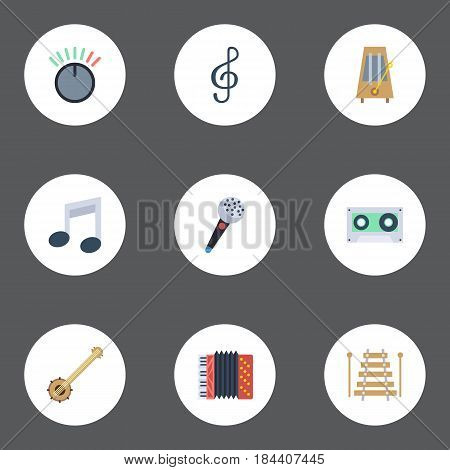 Flat Tone Symbol, Banjo, Harmonica And Other Vector Elements. Set Of Audio Flat Symbols Also Includes String, Banjo, Metronome Objects.