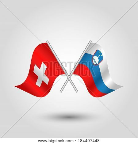 vector waving simple triangle two crossed swiss and slovenian flags on slanted silver pole - icon of switzerland and slovenia