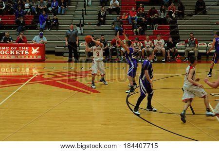 Pandora Gilboa High School verses Leipsic High School, boys basketball game, Pandora, Ohio, December 26th, 2015
