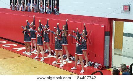 cheerleaders, boys basketball game, Pandora Gilboa High School verses Leipsic High School, Pandora, Ohio, December 26th, 2015