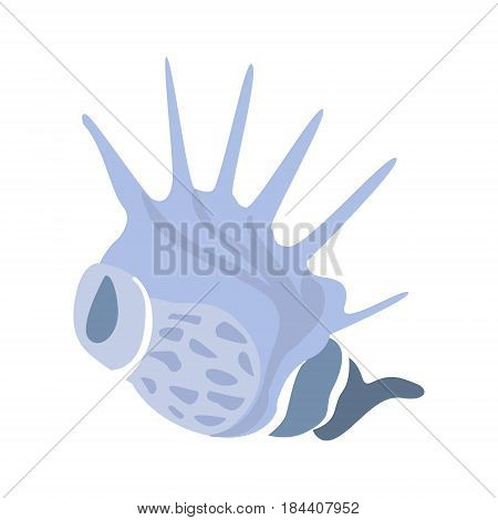 Horned Blue Shell, Part Of Mediterranean Sea Marine Animals And Reef Life Illustrations Series. Aquarium Element Isolated Stylized Icon, Underwater Inhabitant Artistic Sticker.