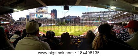 Panoramic View of Cleveland Indians versus Cincinnati Reds, Cleveland, Ohio, May, 22nd, 2015