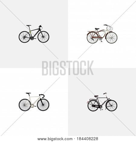 Realistic Road Velocity, Journey Bike, Training Vehicle And Other Vector Elements. Set Of Bike Realistic Symbols Also Includes Training, Hybrid, Bicycle Objects.