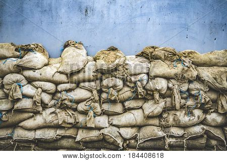 Old sandbag wall for flooding defense or fortification