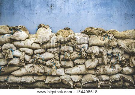 Old sandbag wall for flooding defense or fortification