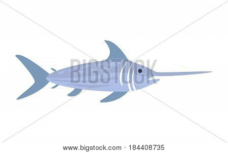 Blue Sword Fish, Part Of Mediterranean Sea Marine Animals And Reef Life Illustrations Series. Aquarium Element Isolated Stylized Icon, Underwater Inhabitant Artistic Sticker.