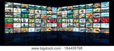 Screens Forming A Big Multimedia Broadcast Video Wall