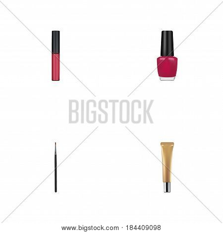 Realistic Varnish, Collagen Tube, Brush And Other Vector Elements. Set Of Greasepaint Realistic Symbols Also Includes Polish, Makeup, Eye Objects.