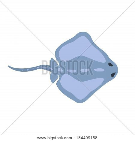 Blue Stingray Fish, Part Of Mediterranean Sea Marine Animals And Reef Life Illustrations Series. Aquarium Element Isolated Stylized Icon, Underwater Inhabitant Artistic Sticker.