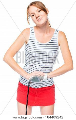 Woman In Glove For Game Leans On Golf Club On White Background