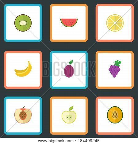 Flat Lime, Peach, Cluster And Other Vector Elements. Set Of Berry Flat Symbols Also Includes Muskmelon, Merlot, Jonagold Objects.