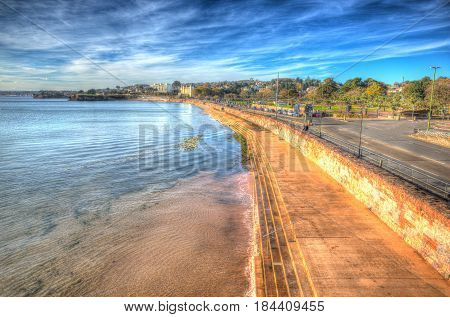 Torquay Devon promenade on the English Riviera in colourful HDR