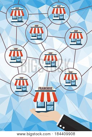 Franchise business system with polygon background. Business concept
