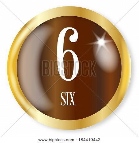 6 for Six button from the NATO phonetic alphabet/number with a gold metal circular border over a white background