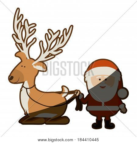 background with caricatures of reindeer holding by rope to santa claus and half shadow vector illustration