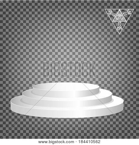 White podium multilevel on a transparent background.Vector illustration of an eps 10.