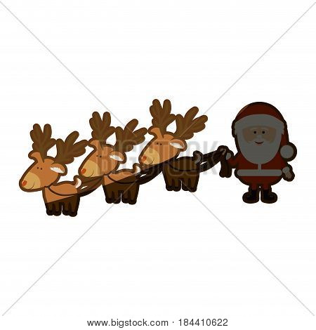 background with caricatures of three reindeers and santa claus and half shadow vector illustration