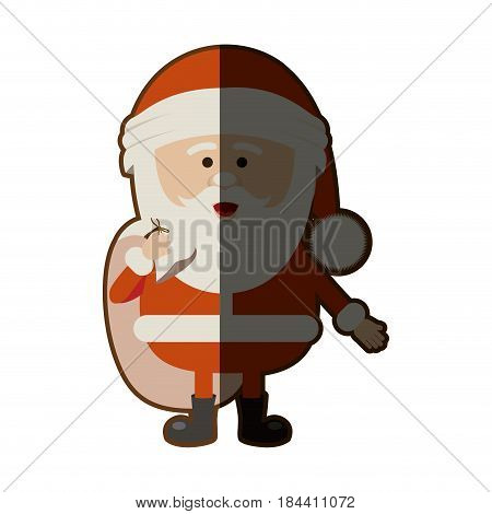 colorful silhouette of santa claus with gift bag and half shadow vector illustration
