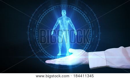 Businessman Is Holding A Human Hologram In His Hand