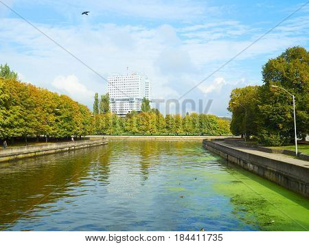 Scenic View Of Kaliningrad. City Landscape. Autumn View Of The River Pregolya.