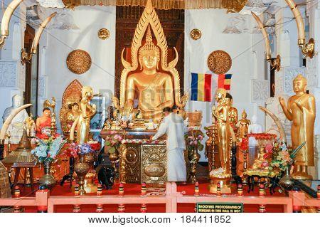Kandy Sri Lanka - 16 December 2004: Sri Dalada Maligawa Tempel at Kandy on Sri Lanka