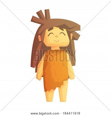 Cute cave girl smiling with closed eyes, stone age character, colorful vector illustration isolated on a white background