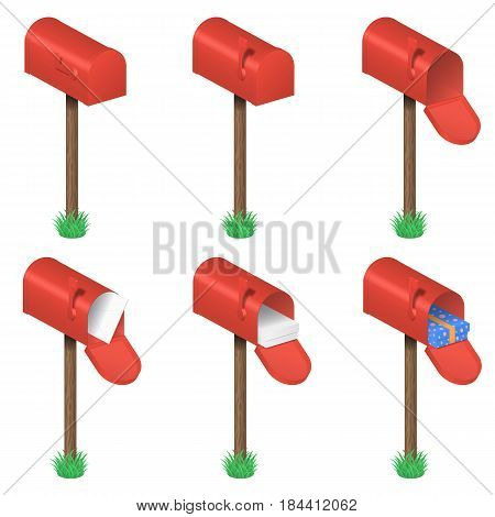 Vector set of red mailboxes with envelope, box and gift