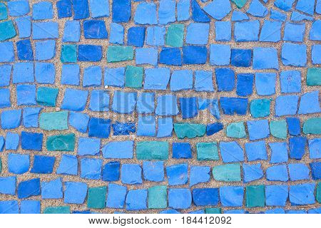 Beautiful Background Of Multi-colored Tiles. Tiled Mosaic In Pastel Colors.blue, Green