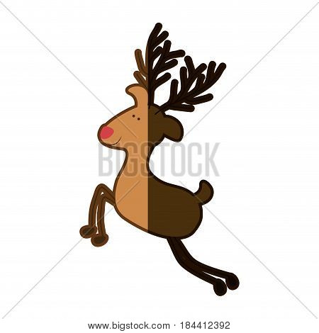 silhouette caricature color of reindeer with red nose and half shadow vector illustration