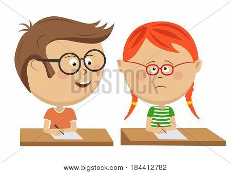 Little boy copying his classmate girl on exam over white background