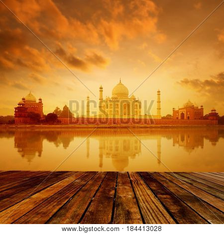 Taj Mahal in Agra, India on sunrise