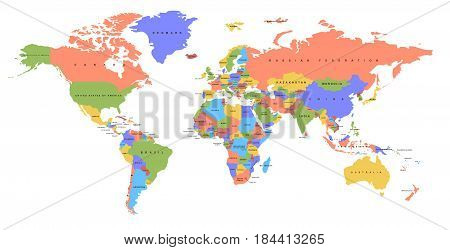 Color world map with the names of countries. Political map. Every country is isolated.