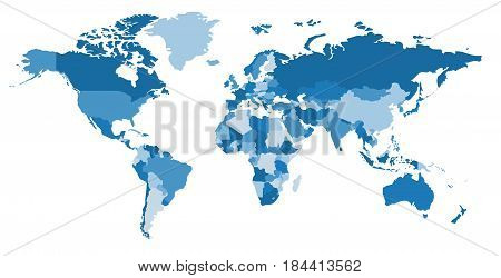Blue world map. Political map. Every country is isolated.