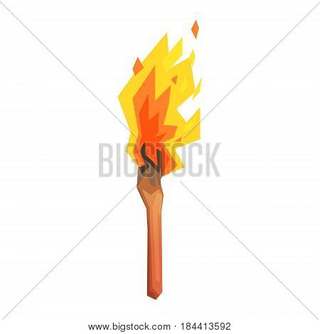 Torch, stone age symbol, colorful vector illustration isolated on a white background