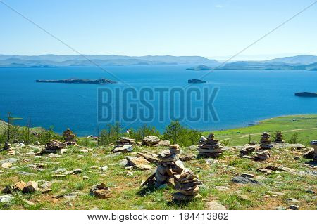 View of the Small Sea Strait, Lake Baikal, Russia. In the distance - Olkhon gate strait. On the left is Olkhon Island, on the right is the mainland