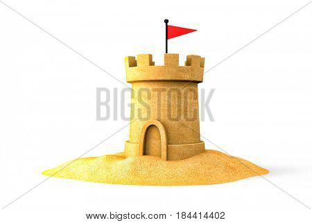 Sandcastle on the seaside. Isolated on white. 3d illustration