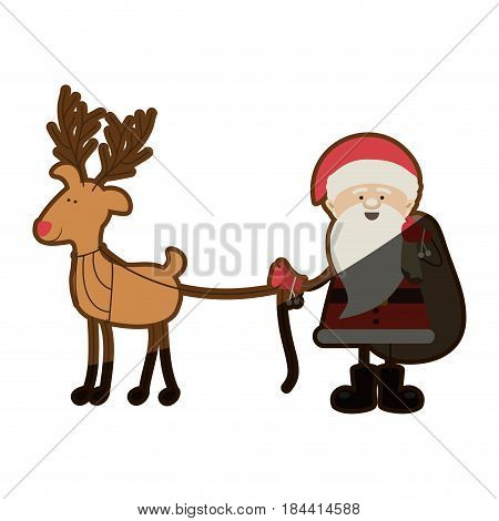 colorful silhouette caricature of santa claus with gift bag and reindeer holding by rope and half shadow vector illustration