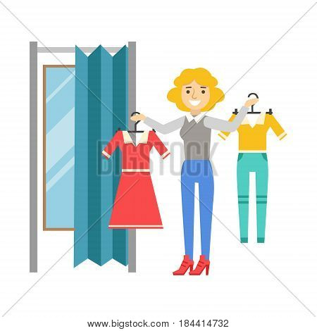 Woman trying to decide what to buy, difficult choice, colorful vector illustration isolated on a white background