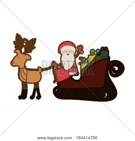 colorful silhouette of caricature reindeer with santa claus in sleigh with gifts and half shadow vector illustration
